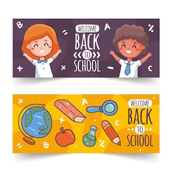 Ilustrado de volta às bandeiras da escola
