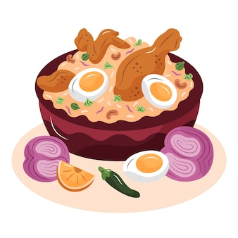 Ilustrado desenhado à mão com frango biryani delicioso
