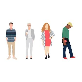 Ilustrado diversas pessoas casuais