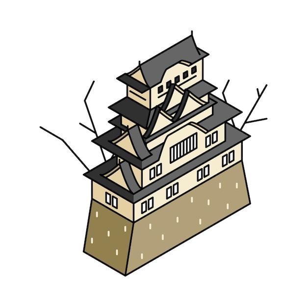 Ilustrado do castelo de himeji no japão
