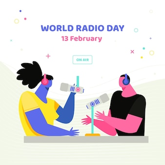 Ilustrado evento do dia mundial da rádio