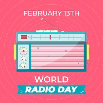 Ilustrado evento do dia mundial do rádio desenhado à mão