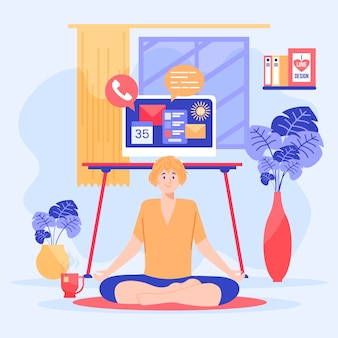 Ilustrado mulher fazendo yoga ao adiar o trabalho
