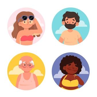 Ilustrado pessoas com queimaduras solares