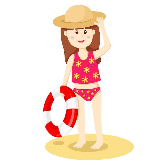 Ilustrador da minha garota na praia