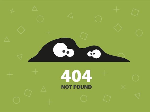 Ilustrador da página de erro 404 não encontrada vetor de fundo verde com olhos design moderno