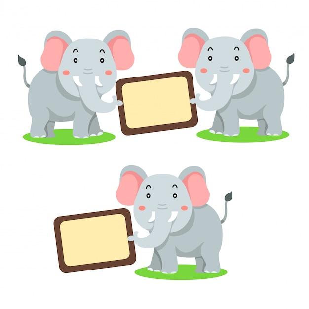 Ilustrador de bandeira animal elefante