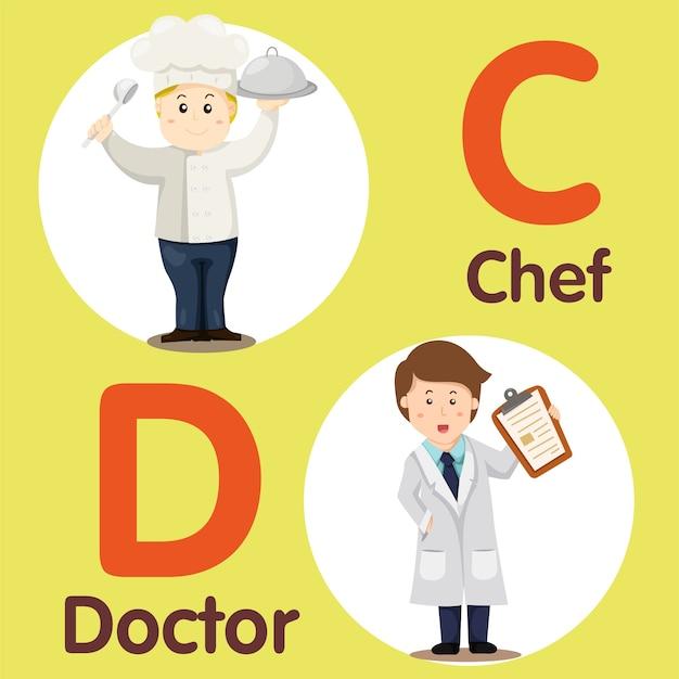 Ilustrador de caráter profissional chef e médico