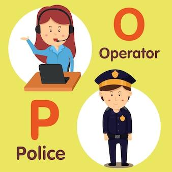 Ilustrador de caráter profissional operador e polícia