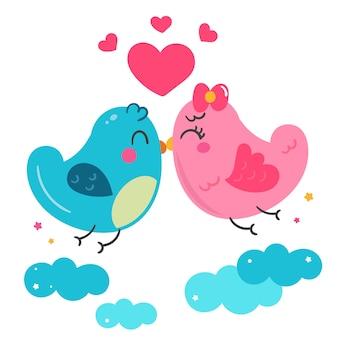 Ilustrador de casal de pássaros com coração fofo