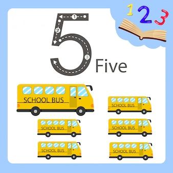 Ilustrador de cinco ônibus de número