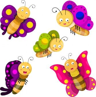 Ilustrador de conjunto de desenhos animados de borboleta