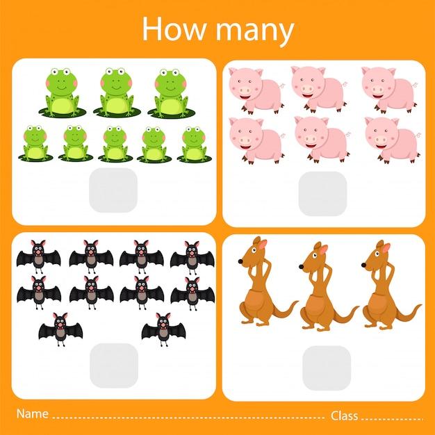 Ilustrador de contar quantos animais