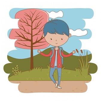 Ilustrador de desenhos animados de garoto adolescente