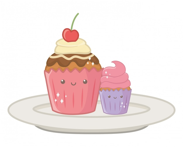 Ilustrador de desenhos animados de sobremesa cupcake