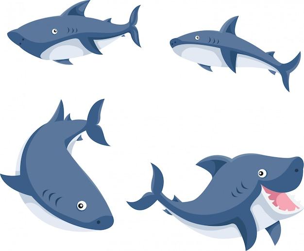 Ilustrador de desenhos animados de tubarões