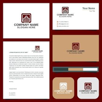 Ilustrador de design de logotipo de tecnologia de dados abstratos