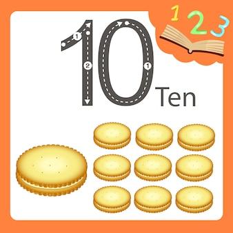 Ilustrador de dez bolachas numéricas