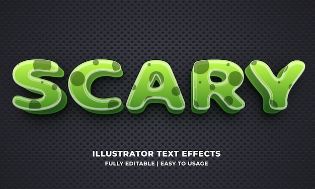 Ilustrador de efeito de texto editável assustador