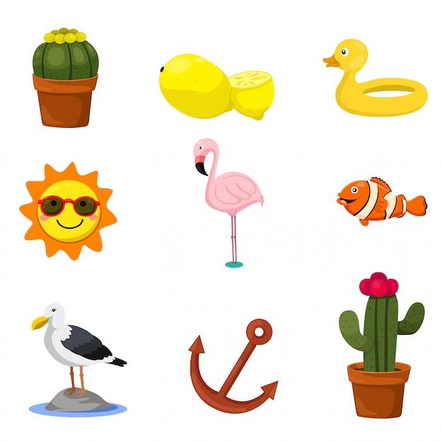 Ilustrador de elementos do conjunto de verão