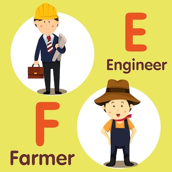 Ilustrador de engenheiro de caráter profissional e agricultor
