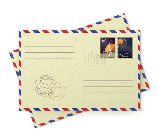 Ilustrador de envelopes vintage de correio aéreo com selos postais isolados no fundo branco