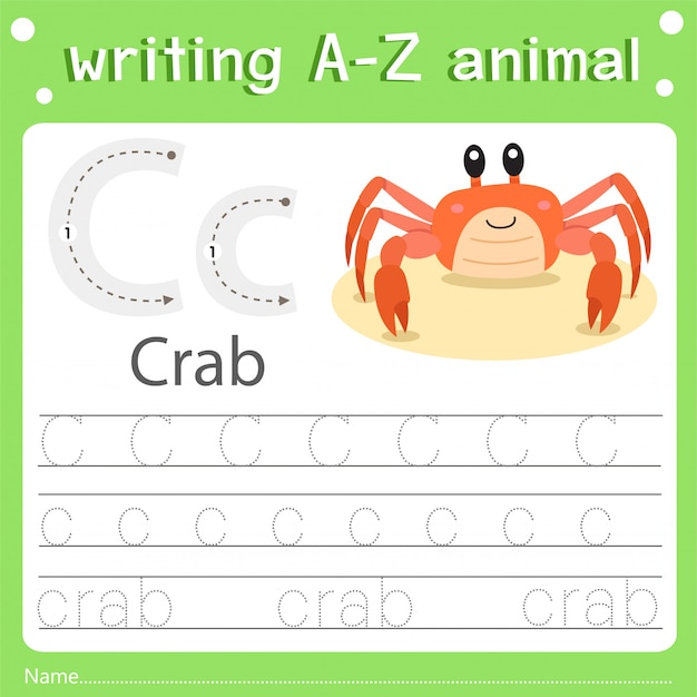 Ilustrador de escrever az animal c caranguejo