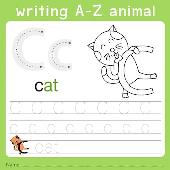 Ilustrador de escrever az animal c