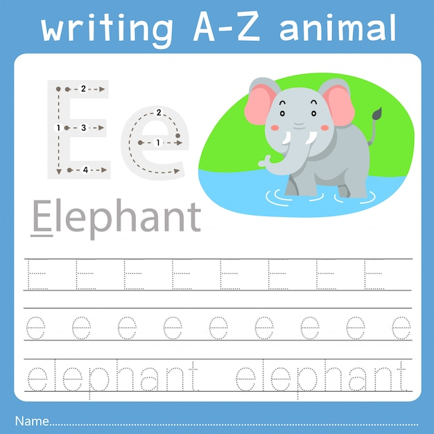 Ilustrador de escrever az animal e