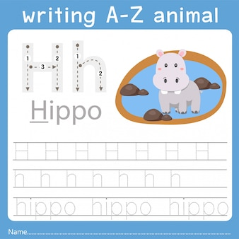 Ilustrador de escrever az animal h