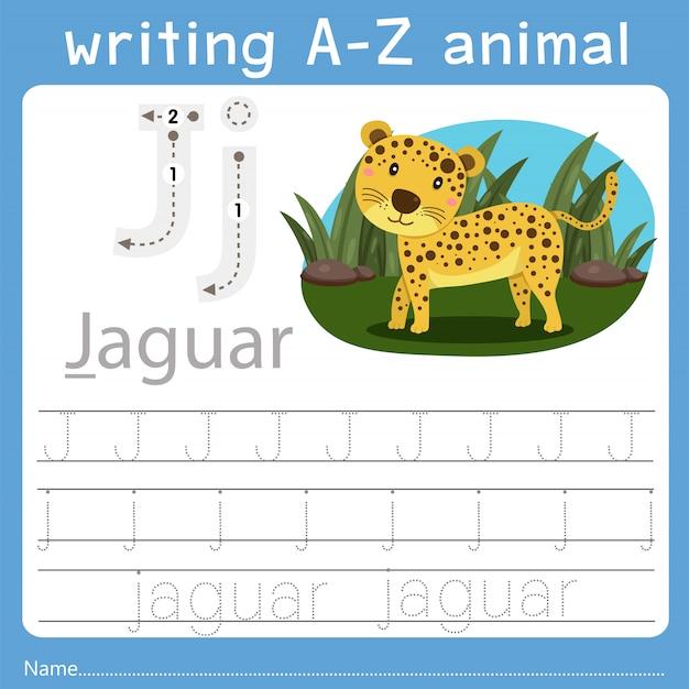 Ilustrador de escrever az animal j