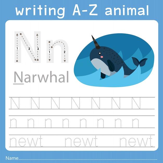 Ilustrador de escrever az animal n