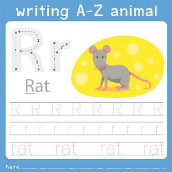 Ilustrador de escrever az animal r