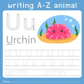 Ilustrador de escrever az animal u