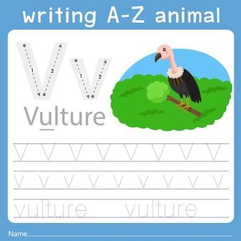 Ilustrador de escrever az animal v