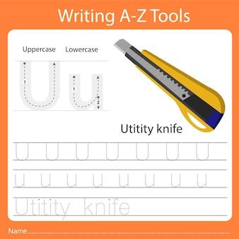 Ilustrador de escrever az ferramentas u