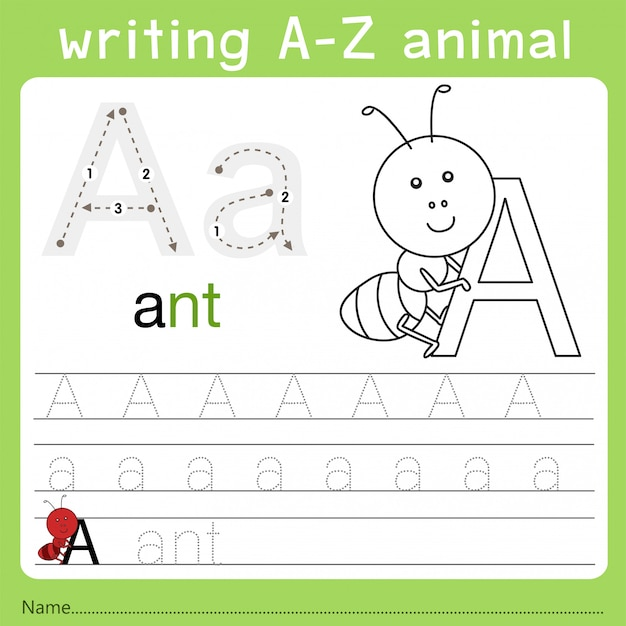 Ilustrador de escrever um animal az