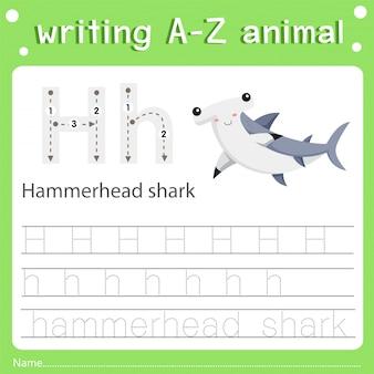 Ilustrador, de, escrita, az, animal, h, hammerhead, tubarão