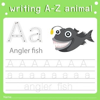 Ilustrador, de, escrita, az, animal, um, peixe pescador