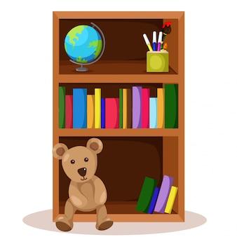 Ilustrador de estante e livro