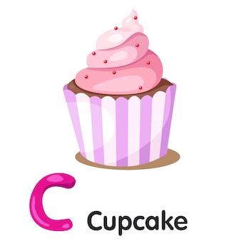 Ilustrador de fonte c com cupcake