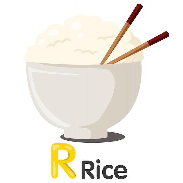 Ilustrador de fonte r com arroz