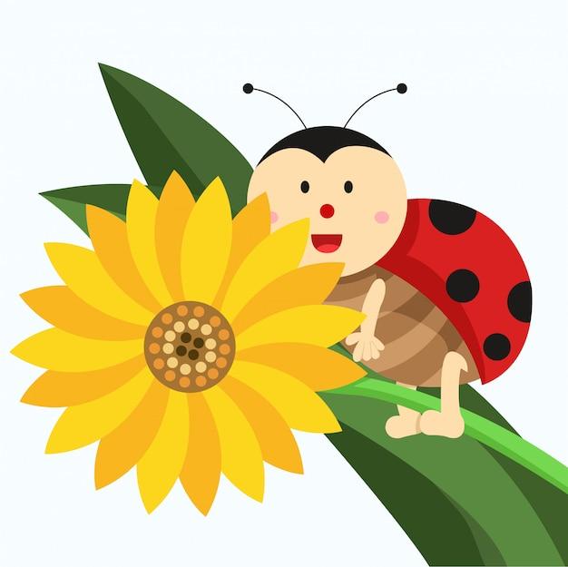 Ilustrador de joaninha e flor