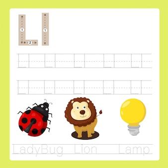 Ilustrador de l exercício vocabulário de desenhos animados az