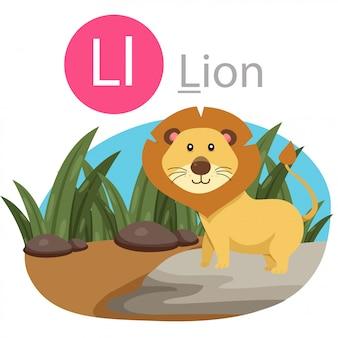 Ilustrador de l para animal leão