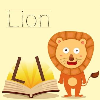Ilustrador de l para vocabulário de leão