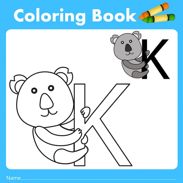 Ilustrador de livro de cor com animal koala