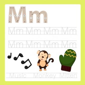 Ilustrador de M exercício vocabulário de desenhos animados AZ