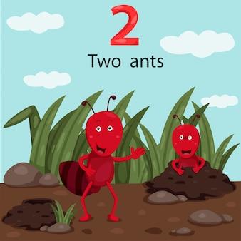 Ilustrador de número dois com formigas