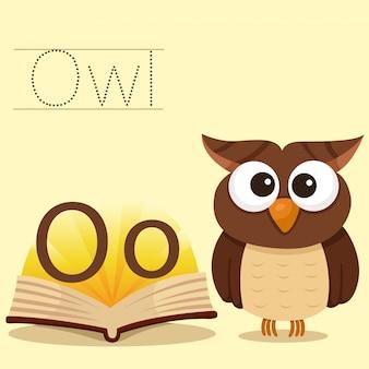 Ilustrador de o para vocabulário de coruja